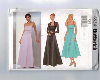 Misses Sewing Pattern Butterick 6534 Misses Easy Evening Bridesmaid Prom Dress Gown Size 6 8 10 Bust 30 31 32 33 UNCUT