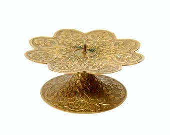 Ornate Brass Pillar Candle Holder with Footed Base & Scalloped Edge