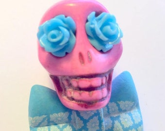 Big Pink Sugar Skull Day of the Dead Pendant or Ornament Floral Bow Tie and Blue Roses