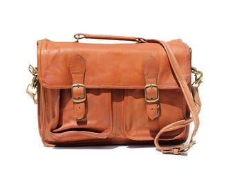 Vintage Brown Leather Multi-pocket Organizer Briefcase Bag