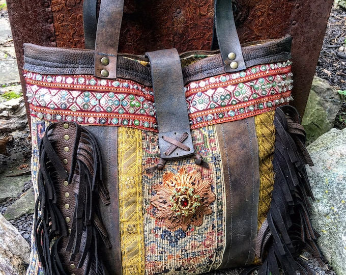 The Bohemian Fringed Shoulder Bag, Leather Tote, Exotic Purse with Antique Textile, Oiled Veg Tanned Leather ~ Made to Order