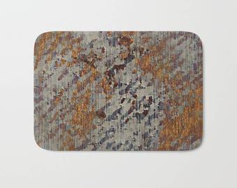 Soft Plush Bath Mat in a Modern Urban Grunge Abstract Mottled Plaster Graphic Print Pattern