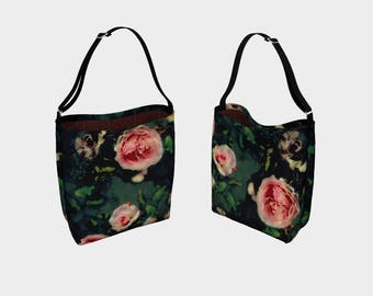 Pink Roses and Damask Tote Bag, Roses Leaves and Green Watercolour Pattern Floral Over the Shoulder Carryall Bag, Gift for Woman