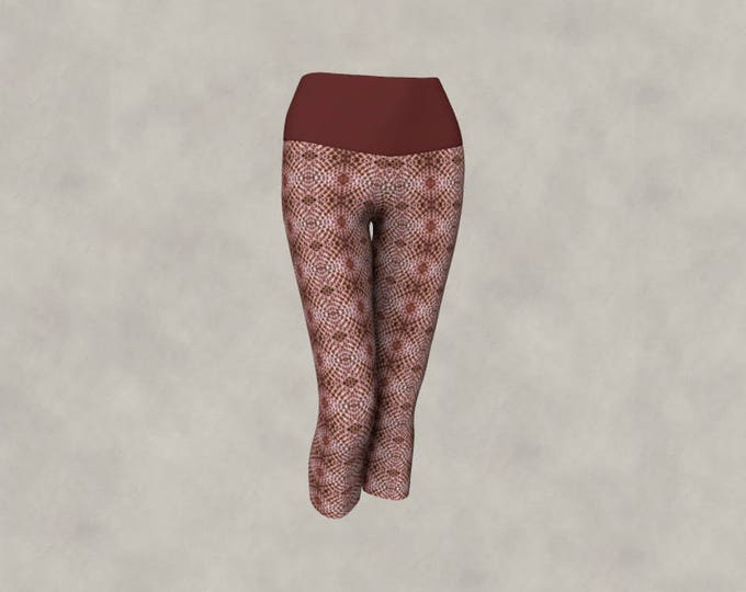 Yoga Capri Leggings Snake Skin Tile Graphic in Dark and Light Warm Brick Red Colour, South Western Mosaic Print Workout Wear