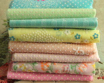 RESERVED for JENNIFER Vintage Flocked Fabric Bundle - Pastel Baby Doll Clothes Fabric - Vintage Dotted Swiss Sewing Fabric Quilting Prints
