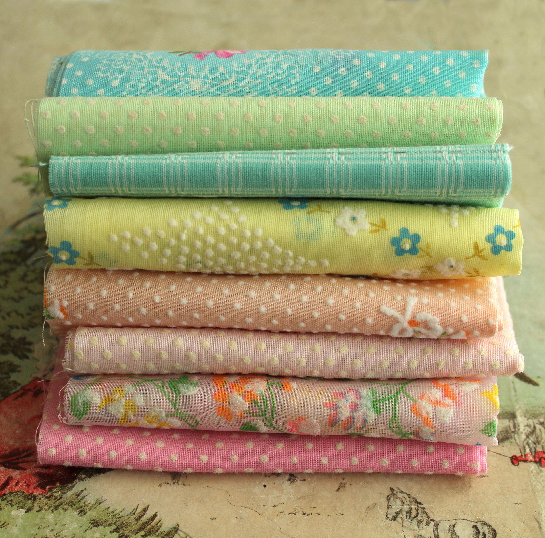 RESERVED for JENNIFER Vintage Flocked Fabric Bundle Pastel