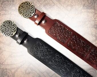 Kilt Belt - Celtic Kilt Belt, Black Kilt Belt, Brown Kilt Belt, Men's Kilt Belt, Women's Kilt Belt - Black or Russet