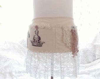 Shabby Rustic Chic Romantic Queen and Crown Tattered and Vintage Lace Vendor Craft Apron