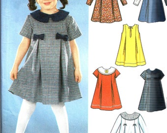 Child's Dress Pattern 2001 Six Easy Styles Children's Sewing Uncut Simplicity Toddler Girl's Size 1/2 to 4