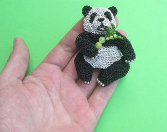 Panda jewelry, panda brooch - handmade crochet wire animal jewelry brooch, panda pin, nature inspired jewelry, wild animal