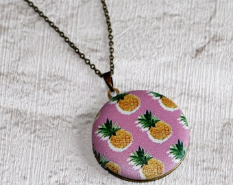 Pineapples Locket Necklace, Fruit Necklace, Food Jewelry