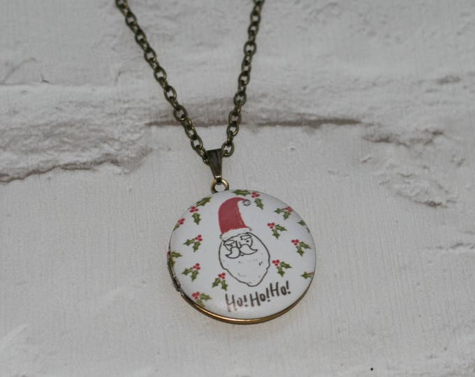Santa Locket Necklace, Father Christmas Necklace, Woodland Jewelry, Christmas Locket
