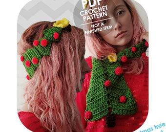 crochet pattern - christmas headband and scarf - christmas tree - christmas crochet pattern - novelty christmas scarf headband