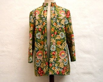Show Stopping Collectors Vintage 1960's CREWEL EMBROIDERED Coat.  Rare Hand Embroidered, Hand Sewn Coat.