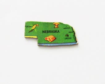 1961 Nebraska Brooch - Pin / Unique Wearable History Gift Idea / Upcycled Vintage Wood Jewelry / Timeless Gift Under 25