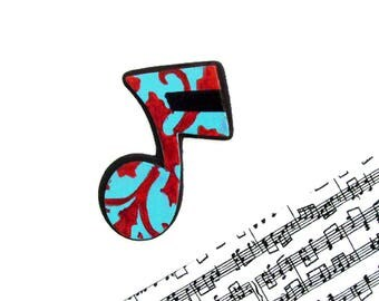Music Note Brooch - Pin / Red, Turquoise & Black Hand Painted Wood Brooch / Unique Gift Under 25