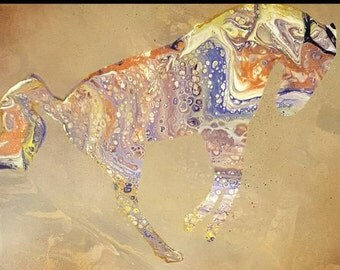 Bucking Horses, Abstract Horse silhouettes on poured paint background, 2 running Horses, Original horse artwork, equine art, horse painting
