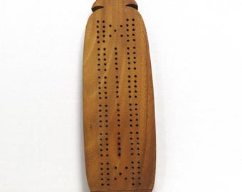 Vintage Hawaii Monkey Pod Wood Cribbage Board/ Pineapple Shaped Souvenir