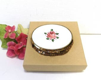 Vintage Compact with Guilloche Enamel, Pink Rose /Gold Mesh Bottom for Loose Powder