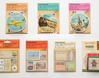 Lot Of 7 Retro Vintage Style Airplane Travel Vacation Airmail Luggage Party Decorative Diary Scrapbook Stickers Seal