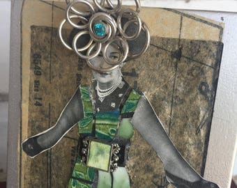 Broken China Mosaic Collage Wallace Simpson -Green Blue Island Boho Mixed Media Art - Picture