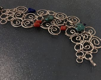 Sterling Silver Bracelet - Turquoise - Lapis Lazuli - Coral - Mandala - One of a Kind - Handmade - Fine Jewelry