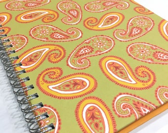 Ruled Journal - Orange & Lime Paisley