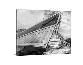Chevrolet Bel Air, Chevy BelAir, Car Picture, Tail Fins, Mid-Century, Canvas Wrap, Black and White, Tail Fins, Automobile Art, Canvas Art