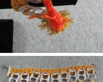 Pop Tab Bracelet - Golden Pop Tab Bracelet with Yellow, Orange, Gold Tassels - Crochet Bracelet - Pop Tab Jewelry - Tassel Bracelet