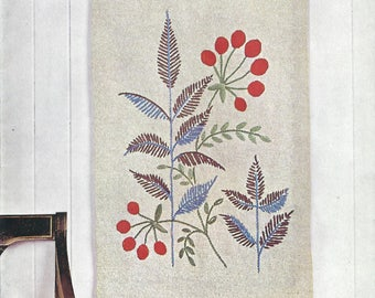 1960s Anchor 782 Vintage Transfer Pattern Leaves and Berries Wall Hanging