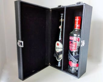 Wine Carrying Case, Portable Travel Bar, Double Bottle Tote, Vintage Barware Black Faux Leather, Wine Connoisseur Spirits Bartender Suitcase
