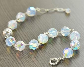 Valentine's Day gift Opal bracelet for October Birthstone bracelet Swarovski crystal bracelet gifts for her