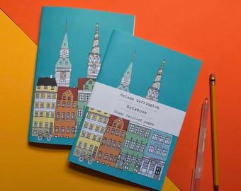Copenhagen Notebook - Copenhagen Cityscape - Copenhagen Skyline - A5 Eco Noteboo -  Scandinavian Design