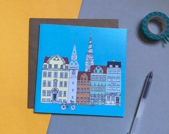 Copenhagen Skyline Greetings Card - Scandinavian Design - Copenhagen Cityscape - Copenhagen Landmarks Print