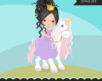 Unicorn princess clipart, pink baby unicorn and cute characters, scrapbooking, card making, embroidery, planner stickers, cookie cutters