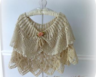 Boho Chic Cape, Two Layers of Vintage Crochet, Victorian Inspired, Bridal Cape, Wedding Shawl, Evening Shawl, Crochet Poncho