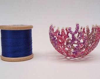 Maerl MINI bowl, original textile art, free machine embroidery on dissolvable fabric