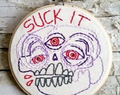 "purple SUCK IT skull - 5"" hand embroidered wall hanging"