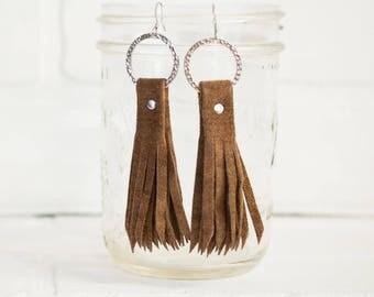 tassel earrings, recycled, brown leather earrings, tassel, handmade jewelry, eco friendly jewelry, tassel earrings, leather, stacylynnc