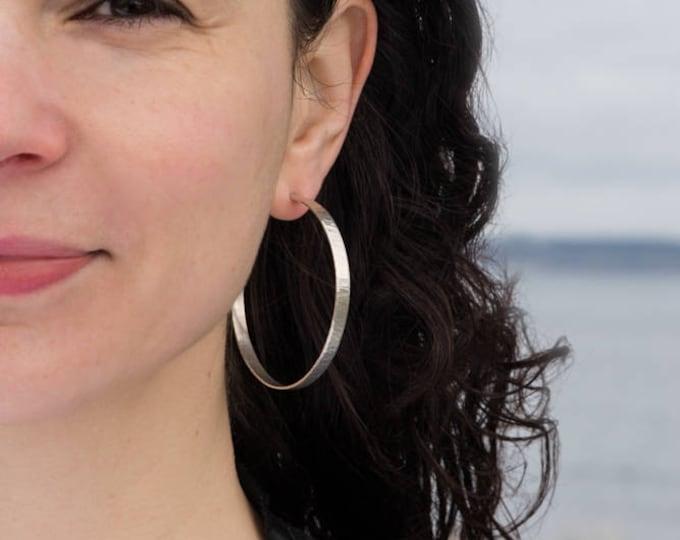 Sterling Hoop Earrings, Wide, Wavy Texture, 55mm.