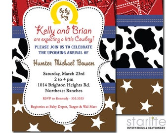 Western Baby Shower Invitations, Baby Shower Invitation Western,  Western Baby Shower Invites, Western Cowboy Cowgirl Shower Invite
