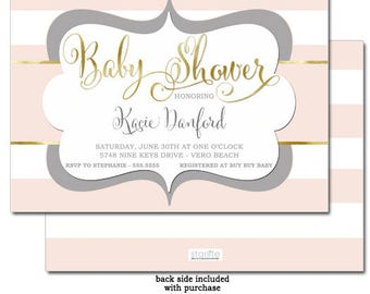 Baby Shower Invitation Pink and Grey Gold | Pink White Stripes Girl Baby Shower Invite | Pink Gold Gray Baby Shower Invitation Girl