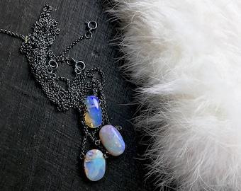 Raw Opal necklace   Opal birthstone necklace   Opal pendant   Opal stone jewelry   Natural opal necklace   Fire opal jewelry