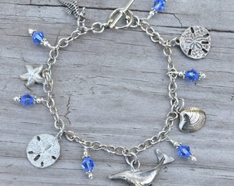Ocean Themed Charm Bracelet with Blue Swarovski Crystals