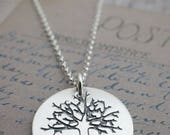 Personalized Mother's Necklace - Family Tree Pendant - Custom Sterling Silver Jewelry w/ Heart & Initials by EWDJewelry - Mother's Day Gift