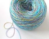 Hand Dyed Tencel Yarn Tencel Lace Yarn Lace Weight Yarn 622 yards Space Dyed Variegated Soft Shiny Colorful - Aqua Rainbow