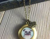 Pug Locket - William le pendentif Carlin fauve art, cadeau de Carlin pour les amateurs de chiens, collier de Carlin, pug bijoux