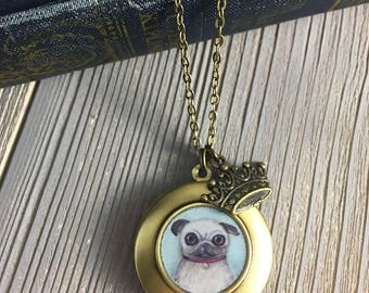 Pug Locket - William the Fawn Pug art pendant necklace, pug gift for dog lovers, pug necklace, pug jewelry