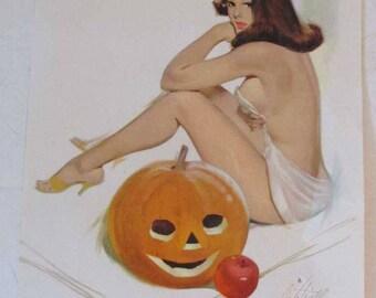 Fritz Willis pinup girl illustration - 1966 - Halloween - Jack-o-Lantern