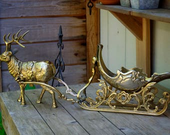 Large Brass Reindeer and Sleigh Sculpture, Holiday Decor